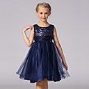 cheap Girls' Dresses-Kids Toddler Girls' Sweet Party Solid Colored Floral Sequins Sleeveless Dress