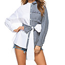 cheap Body Massager-Women's Street chic Cotton Shirt - Striped Color Block Square Neck