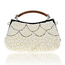 cheap Clutches & Evening Bags-Women's Bags Polyester Evening Bag Pearls Champagne / Black / Beige / Wedding Bags