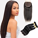 tanie Dopinki w naturalnych kolorach-4 zestawy Włosy brazylijskie Prosto Włosy remy Człowieka splotów włosów Ludzkie włosy wyplata Ludzkich włosów rozszerzeniach / Prosta