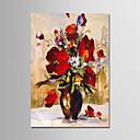 tanie Obrazy: motyw roślinny/botaniczny-Hang-Malowane obraz olejny Ręcznie malowane - Martwa natura Nowoczesny Brezentowy / Rozciągnięte płótno