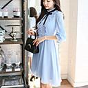 tanie Modne kolczyki-Damskie Praca Vintage Urocza Bufka Linia A Sukienka - Jendolity kolor, Kokarda Falbany Półgolf Do kolan