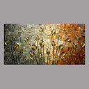 cheap Abstract Paintings-Oil Painting Hand Painted - Floral / Botanical Simple Rustic Modern Canvas