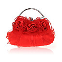 cheap Shoulder Bags-Women's Bags Silk Evening Bag Ruffles Red / Beige / Purple