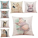 cheap Pillow Covers-7 pcs Linen Pillow Cover / Pillow Case, Textured / Wildlife / Quotes & Sayings Modern / Contemporary / Office / Business / Traditional / Classic