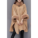 cheap Women's Boots-Women's Daily Street chic Fall / Winter Long Cloak / Capes, Solid Colored Crew Neck Long Sleeve Wool / Acrylic / Polyester Camel / Gray L / XL / XXL