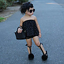 tanie Prezenty ślubne-Komplet odzieży Bawełna Dla dziewczynek Groszki Wiosna Lato Bez rękawów Urocza Aktywny Moda miejska Black