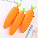 baratos Cases e Bolsas-1 pc cenoura silicone papelaria bolsa caneta cremalheira escritório criativo