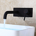cheap Wall Sconces-Modern/Contemporary Wall Mounted Ceramic Valve Single Handle One Hole Black, Bathroom Sink Faucet