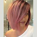 olcso Szintetikus csipke parókák-Szintetikus csipke front parókák Női yaki Pink Tincselve Szintetikus haj Pink Paróka Rövid Csipke eleje Fekete / Rózsaszín EEWigs