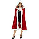 billiga Sexiga uniformer-jultomten Mrs.Claus Kappa Santa Clothe Dam Jul Festival / högtid Plysch outfits Röd Enfärgad