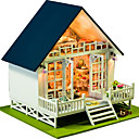 cheap Doll Houses-Dollhouse Light Up Toy Model Building Kit Hand-made Exquisite DIY House Villa Natural Wood Romantic Pieces Unisex Gift