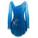 cheap Ice Skating Dresses , Pants & Jackets-Figure Skating Dress Women's / Girls' Ice Skating Dress Azure Spandex Rhinestone High Elasticity Performance Skating Wear Handmade Ice