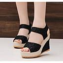 baratos Sandálias Femininas-Mulheres Sapatos Tule Primavera / Outono Conforto Sandálias Salto Plataforma Preto / Bege / Calcanhares