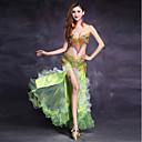 hesapli Göbek Dansı Giysileri-Göbek Dansı Kıyafetler Kadın's Performans Splandeks Kristaller / Yapay Elmaslar Katmanlı Fırfır Kolsuz Düşük Etekler Sütyen Kemer