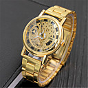 hesapli Lüks Saatler-Erkek Quartz Bilek Saati Çince Gündelik Saatler Alaşım Bant Lüks Günlük Zarif Moda Gümüş Altın Rengi