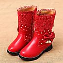 halpa Kids' Flats-Tyttöjen Tekonahka Bootsit Pikkulapset (4-7 vuotta) / Suuret lapset (7 vuotta +) Comfort / Talvisaappaat Kävely Vetoketjuilla Musta / Punainen / Pinkki Talvi / TR / EU36