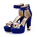 cheap Natural Color Hair Weaves-Women's Shoes Nubuck leather Spring / Summer Comfort / Novelty Sandals Chunky Heel Open Toe Sequin / Buckle Black / Red / Blue / Wedding