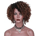 cheap Synthetic Capless Wigs-Synthetic Wig Afro Layered Haircut Synthetic Hair Dark Roots Brown Wig Women's Short Capless Black / Brown