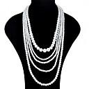 preiswerte Modische Ohrringe-Damen Mehrschichtig Layered Ketten - Künstliche Perle Modisch, Mehrlagig Weiß Modische Halsketten Schmuck Für Party, Ausgehen