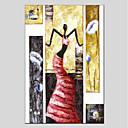 tanie Obrazy: martwa natura-Hang-Malowane obraz olejny Ręcznie malowane - Ludzie Nowoczesny Brezentowy / Rozciągnięte płótno