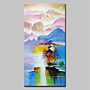 tanie Pejzaże-Hang-Malowane obraz olejny Ręcznie malowane - Krajobraz Nowoczesny Brezentowy / Walcowane płótno
