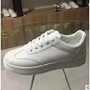 baratos Tênis Feminino-Mulheres Sapatos Couro Ecológico Primavera / Outono Conforto Tênis Sem Salto Dedo Fechado Branco / Marron