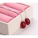 זול עגילים אופנתיים-בגדי ריקוד נשים עגילי טיפה - דמוי פנינה טיפה מתוק שחור / אדום / ורוד עבור Party / יומי