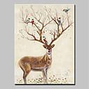 olcso Állatos festmények-Hang festett olajfestmény Kézzel festett - Állatok Állatok / Modern Vászon / Hengerelt vászon