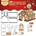 halpa Käytännölliset pikkulahjat-Bakeware-työkalut Ruostumaton teräs + A luokka ABS Christmas Cookie Pie Työkalut 1set