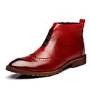 tanie Kozaki męskie-Męskie Komfortowe buty Sztuczna skóra Wiosna / Jesień Botki Spacery Niepoślizgowy / a Czarny / brązowy / Burgundia