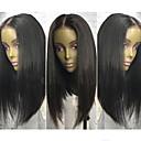 cheap Human Hair Wigs-Human Hair Lace Front Wig Brazilian Hair Straight Wig Bob Haircut 130% Natural Hairline / 100% Virgin / Unprocessed Women's Medium Length Human Hair Lace Wig