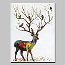 tanie Obrazy: motyw zwierzęcy-Hang-Malowane obraz olejny Ręcznie malowane - Zwierzęta Zwierzęta / Nowoczesny Brezentowy / Walcowane płótno