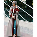 cheap Girls' Clothing Sets-Women's Flare Sleeve Daily / Work Street chic Flare Sleeve Maxi Loose Dress - Color Block High Waist V Neck Gray
