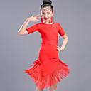 baratos Roupas de Dança Latina-Dança Latina Vestidos Espetáculo Elastano Mocassim Meia Manga Alto Vestido
