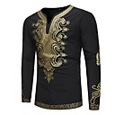 cheap Dance Sneakers-Men's Vintage / Basic Slim T-shirt - Tribal Print V Neck / Long Sleeve