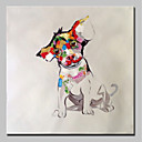 cheap Oil Paintings-Oil Painting Hand Painted - Animals Animals Simple Modern Canvas