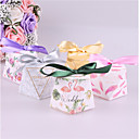 cheap Favor Holders-Square Shape Card Paper Favor Holder with Ribbons Favor Boxes - 25pcs