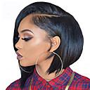 preiswerte Synthetische Perücken mit Spitze-Synthetische Perücken Glatt Bubikopf Synthetische Haare Afro-amerikanische Perücke Schwarz Perücke Damen Kurz Kappenlos Schwarz