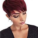 זול ללא מכסה-שיער ללא שיער שיער אנושי ישר פיקסי קאט חלק צד קצר הוכן באמצעות מכונה פאה בגדי ריקוד נשים