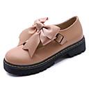 olcso Női Oxford cipők-Női PU Tavasz Kényelmes Félcipők Lapos Kerek orrú Csokor Fekete / Mandula