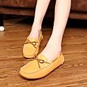 זול נעלי סירה לנשים-בגדי ריקוד נשים נעליים עור אביב / סתיו נוחות נעליים ללא שרוכים שטוח בוהן עגולה פפיון לבן / שחור / צהוב