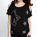 cheap Artificial Flower-Women's Cotton T-shirt Print / Summer / Sequin / Cut Out