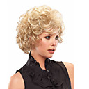 cheap Synthetic Capless Wigs-Synthetic Wig Curly Blonde With Bangs Synthetic Hair With Bangs Blonde Wig Short Capless