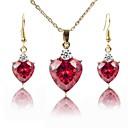 זול סטים של תכשיטים-בגדי ריקוד נשים סט תכשיטים - ציפוי זהב אופנתי לִכלוֹל שרשרת אדום עבור חתונה / מתנה