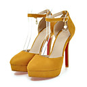 זול נעלי עקב לנשים-בגדי ריקוד נשים נעליים עור נובוק אביב / קיץ נוחות / חדשני עקבים עקב טריז בוהן מחודדת חרוזים / אבזם אפור / צהוב / אדום / חתונה