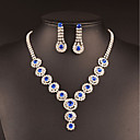 cheap Jewelry Sets-Women's Cubic Zirconia Jewelry Set - Silver Drop Classic, Vintage, Elegant Include Drop Earrings / Choker Necklace / Bridal Jewelry Sets Dark Blue / Blue / Pink For Wedding / Party / Engagement