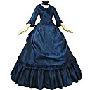 cheap Historical & Vintage Costumes-Victorian Rococo Costume Adults' Masquerade Party Costume Ink Blue Vintage Cosplay Taffeta 3/4 Length Sleeves Puff/Balloon Sweep / Brush