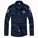 cheap Men's Athletic Shoes-Men's Military Slim Shirt - Solid Colored Basic Classic Collar / Long Sleeve