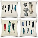 cheap Cushion Sets-4 pcs Cotton / Linen Pillow Cover, Print / Bohemian Style / Retro